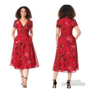 Eshakti Red Floral Wrap Dress